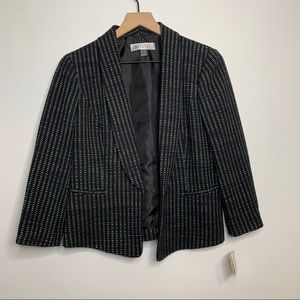 Kasper Black Green Blue Open Front Blazer NWT
